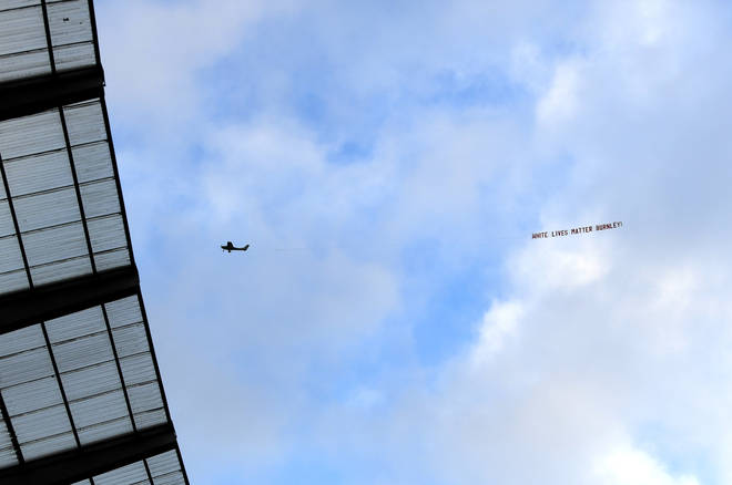 A plane flew over the Etihad Stadium with a banner reading 'White Lives Matter Burnley'  during a match between Manchester City and Burnley FC.