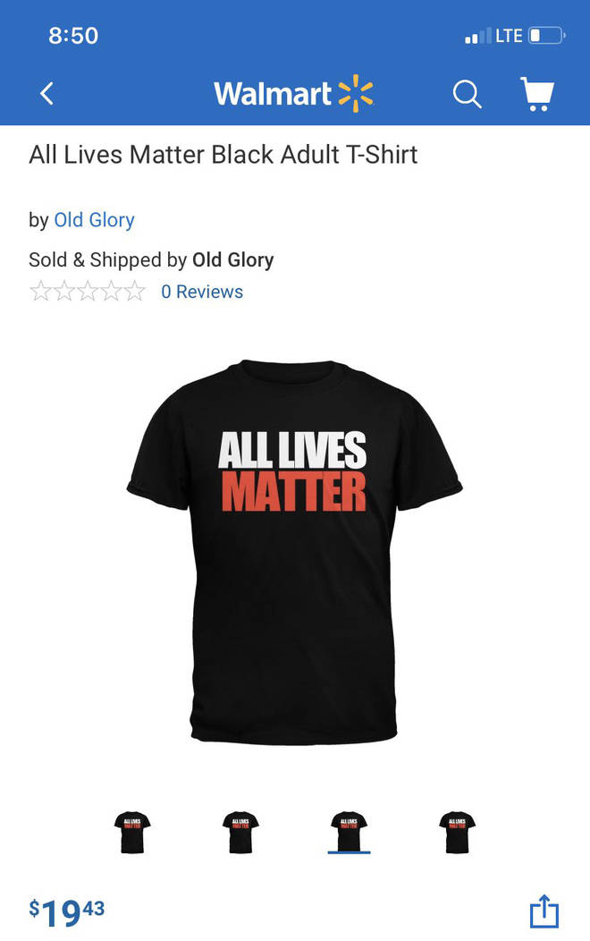 Walmart face backlash over 'All Lives Matter' t shirts