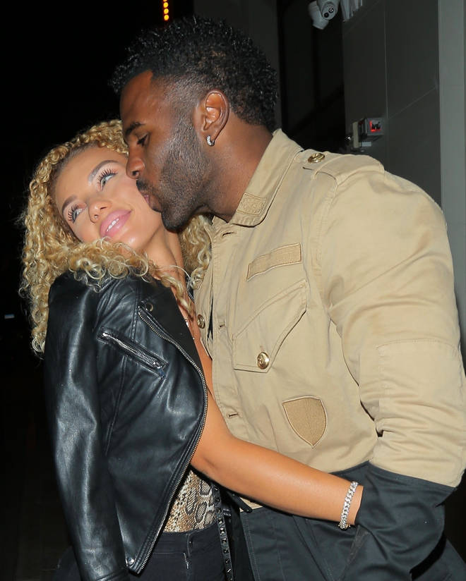 Jason Derulo and his girlfriend Jena Frumes kissing outside Catch in West Hollywood.