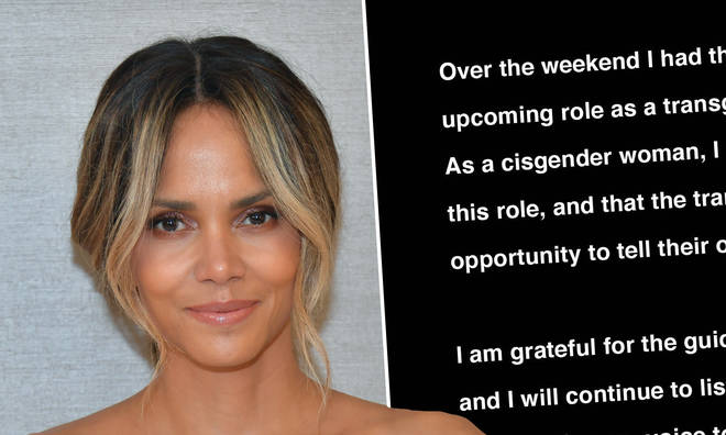 Halle Berry has apologised after considering playing the role of a transgender man.