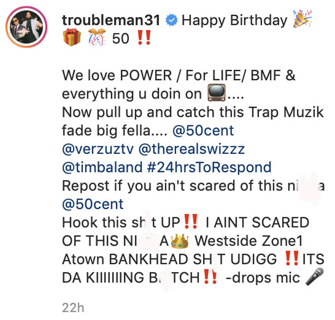 T.I challenges 50 Cent to a 'Versus' battle on Instagram