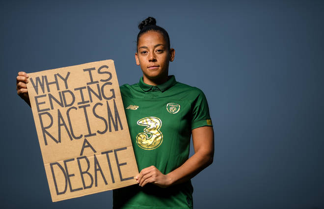 Republic of Ireland and Brighton & Hove Albion footballerr Rianna Jarrett has been supporting the Black Lives Matter movement