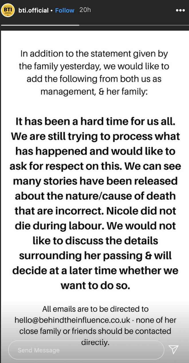 Nicole's management 'Behind The Influence' reveals statement on Instagram