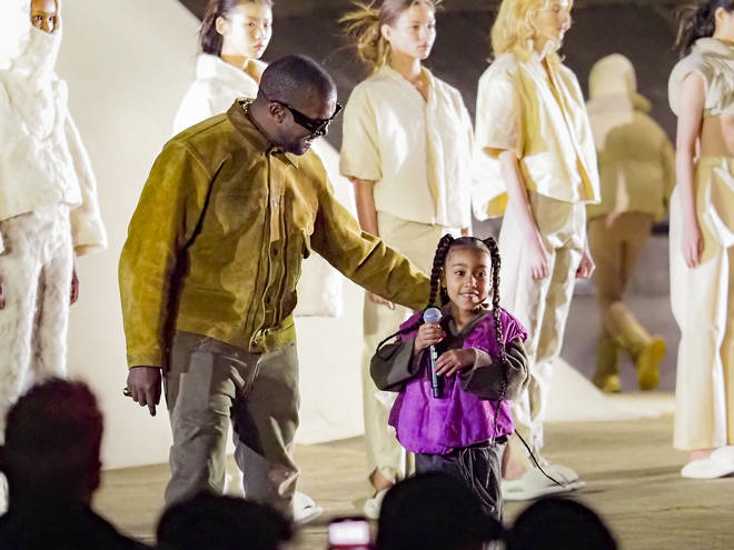 "North West makes her rap debut during Kanye&squot;s ""Yeezy Season 8"" show at Paris Fashion Week"