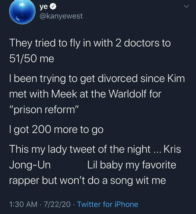 """""""This is my lady tweet of the night, Kris Jong-Un,"""" tweeted Kanye."""