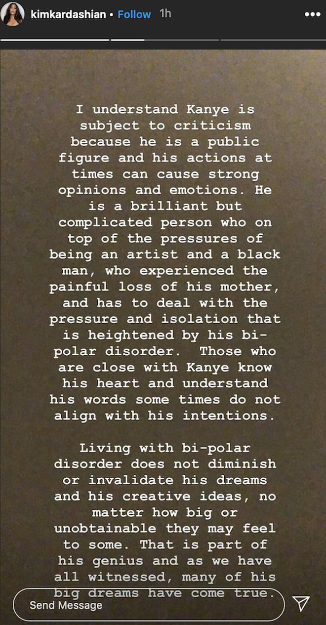 Kim Kardashian further details Kanye West's bipolar disorder