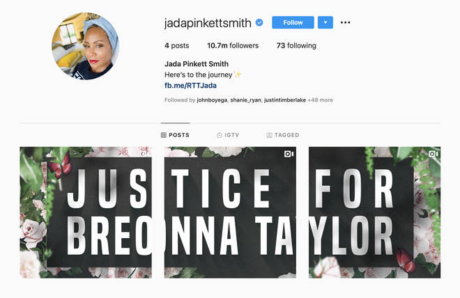 Jada Pinkett-Smith's posts have been placed by a message demanding justice for Breonna Taylor.