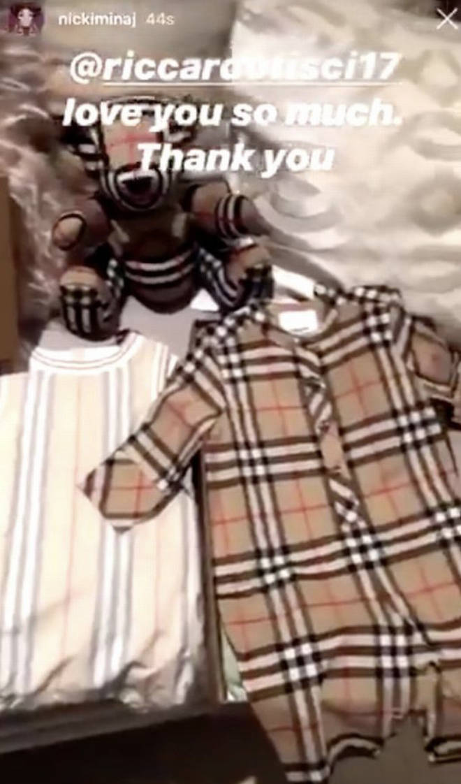 Nicki Minaj shares Instagram photo of a Burberry baby clothes set