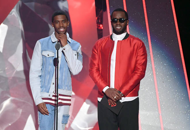 Christian Combs (pictured here with his father Diddy) was involved in a car crash in Beverly Hills on Tuesday night.