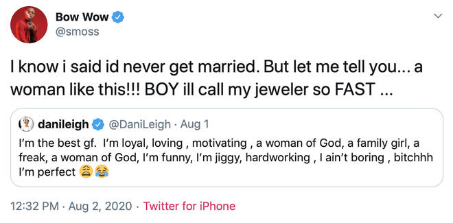 Bow Wow responded to DaniLeigh's tweeted suggesting he's ready to buy a wedding ring.
