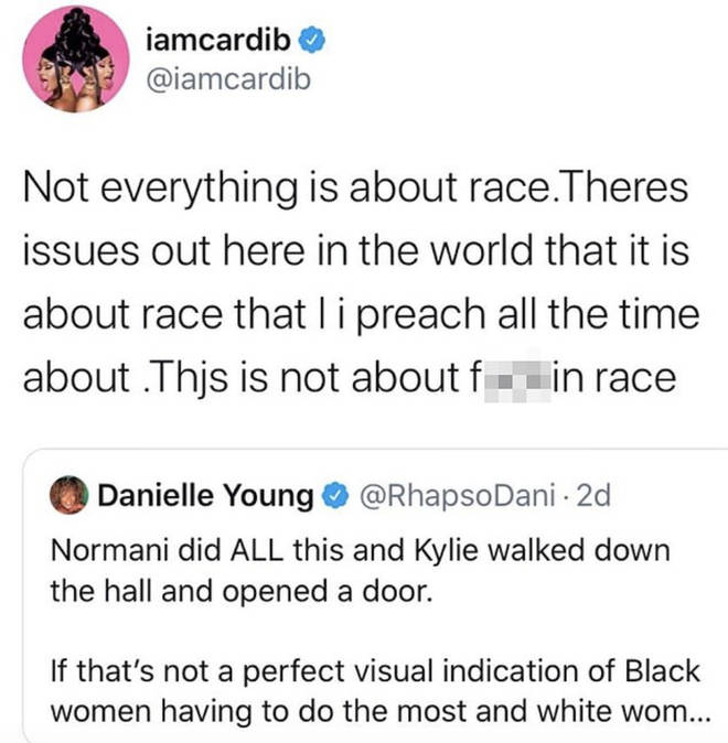 Cardi B slams claims that her choice to have Kylie Jenner just 'walk' and Normani perform a dance routine is based on race