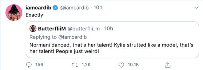 Cardi B agrees with fan who gave props to both Kylie and Normani for displaying their talents in the music video