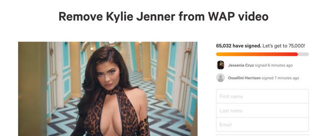 A petition to remove Kylie Jenner from the 'WAP' video has been started