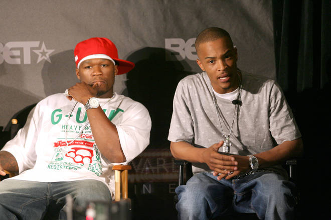 """50 Cent trolled T.I. for claiming he has """"five classic albums"""". (Pictured here together in 2007.)"""