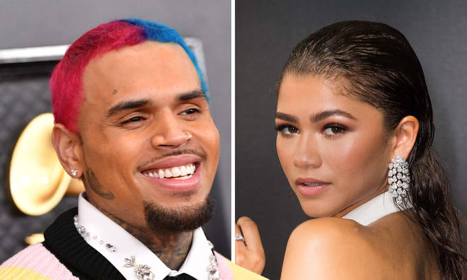 "Chris Brown begs Zendaya to drop ""fire"" unreleased music video"