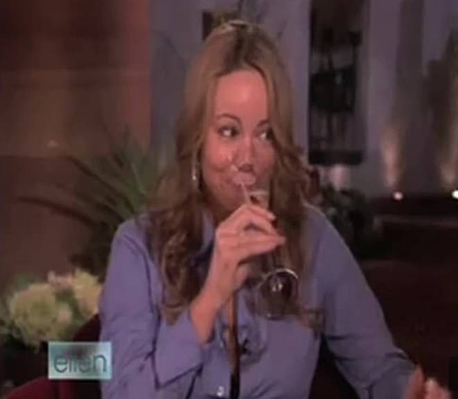 "Mariah Carey seemed to ""fake a sip"" after Ellen DeGeneres encouraged her to have the champagne"