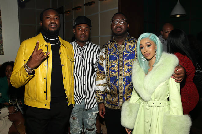 "Meek Mill, Marlo, Pierre ""Pee"" Thomas and Cardi B."