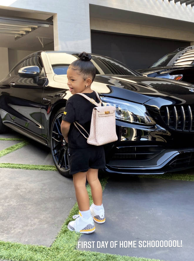 Stormi wore a £12,000 pink Hermes backpack to first day of school.