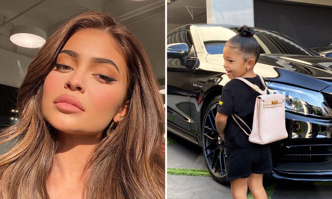 Kylie Jenner's daughter Stormi wears £12,000 Hermes backpack to first day of school.