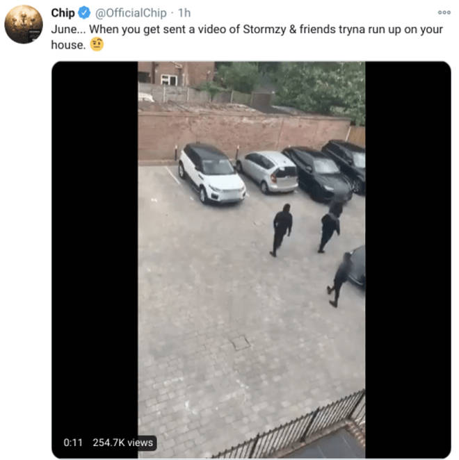 In a now-deleted post, Chip showed footage of Stormzy pulling up at his residence.