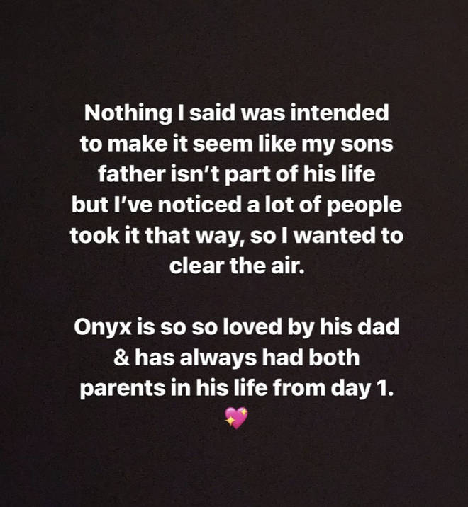 """Onyx is so so loved by his dad & has always had both parents in his life from day 1"", wrote Iggy."