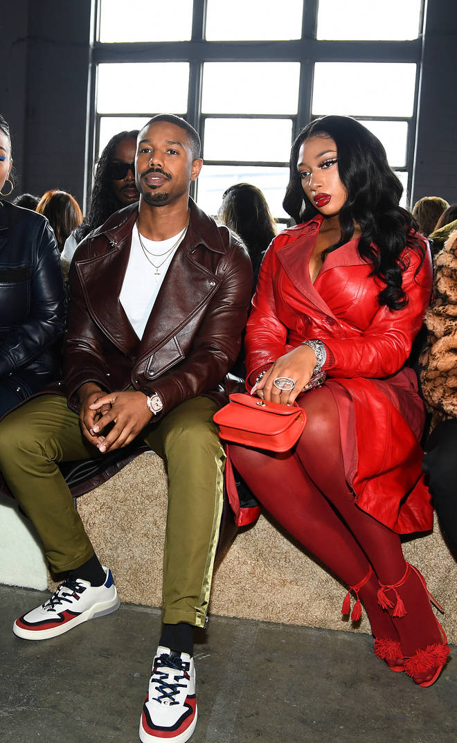 Michael B. Jordan and Megan Thee Stallion attend two Coach 1941 fashion shows together.