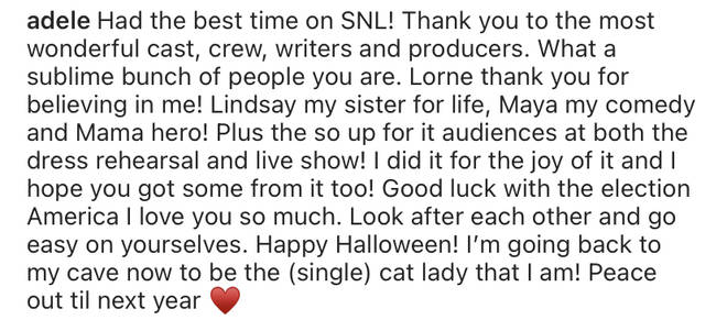 """Had the best time on SNL! Thank you to the most wonderful cast, crew, writers and producers,"" wrote Adele."