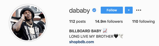 DaBaby pays tribute to his older brother who passed away on his Instagram bio