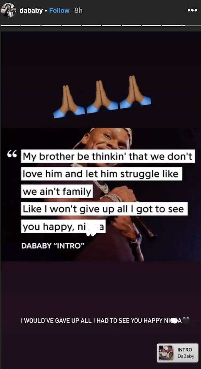 DaBaby pays heartbreaking tribute to his brother, Glen, on his Instagram story