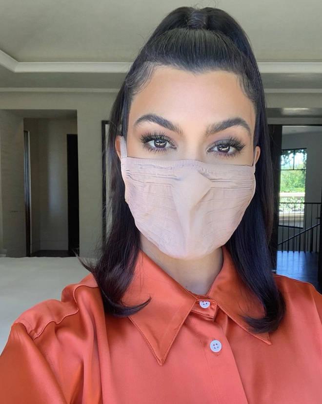 Kourtney Kardashian shows off her mask in an Instagram post