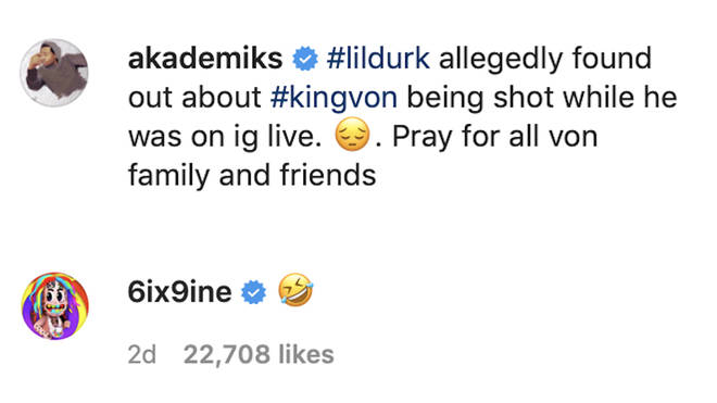 The 'GOOBA' rapper, 24, left a laughing emoji under Akademiks' post, which left fans furious.
