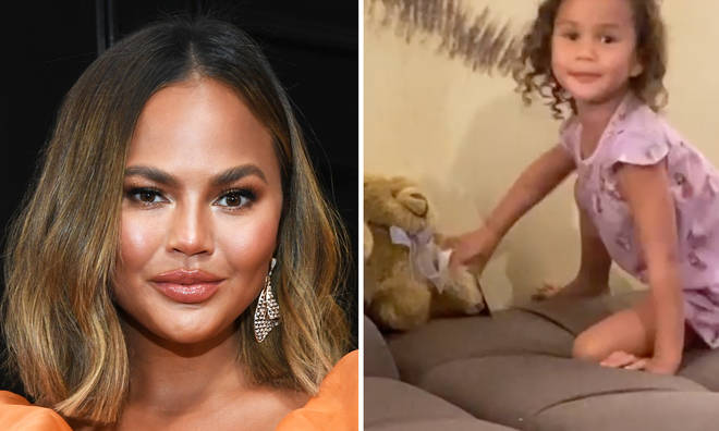 Chrissy Teigen's daughter Luna talks to baby Jack's ashes in sweet video.