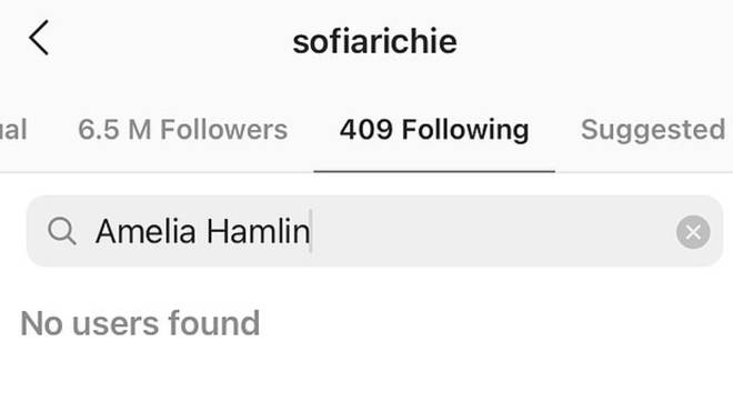Instagram shows Sofia Richie is no longer following Amelia Hamlin