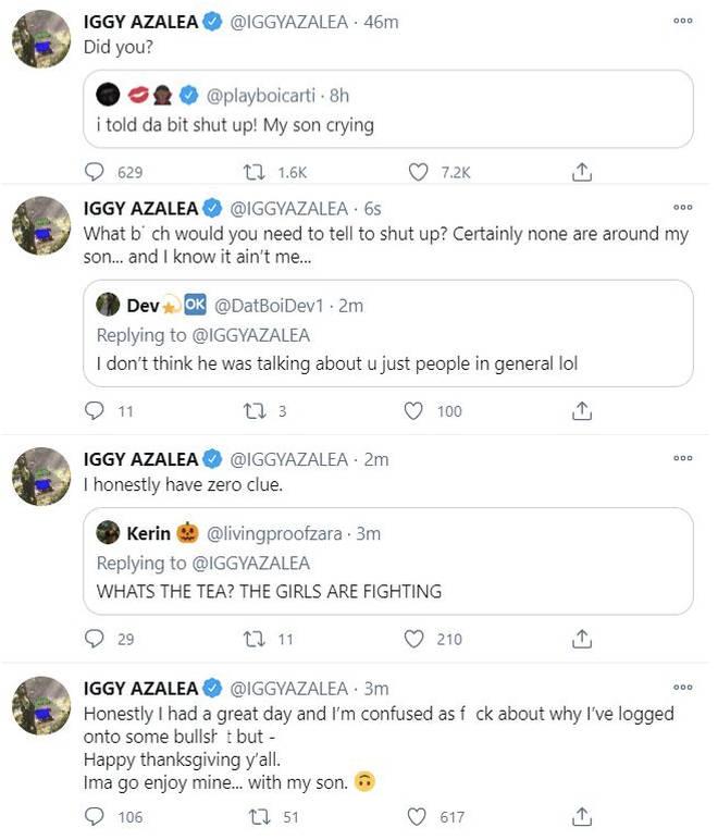 Iggy Azalea responds to ex Playboi Carti's tweet