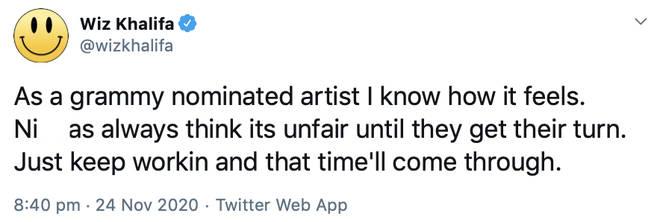 Wiz Khalifa reflects on being a Grammy nominee