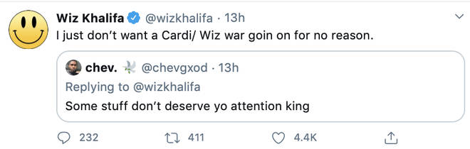 "Wiz Khalifa makes it clear he doesn&squot;t want to ""war"" with Cardi B"