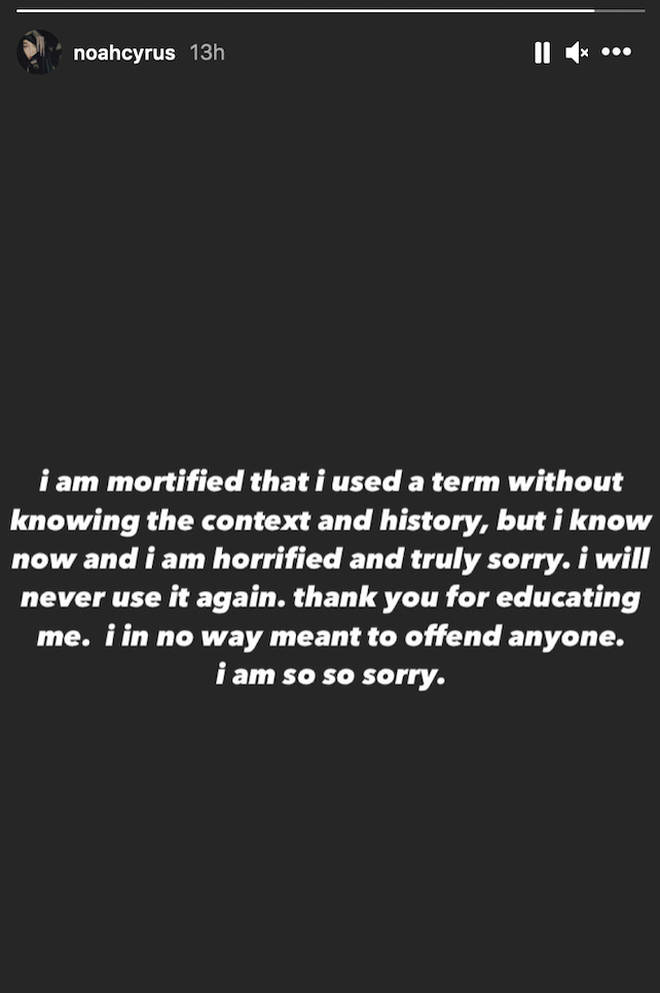 Noah Cyrus issues an apology on Instagram