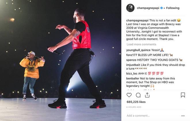 Drake and Chris Brown on stage/Drake Instagram