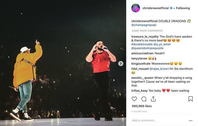 Drake brings out Chris Brown In LA/Chris Brown Instagram