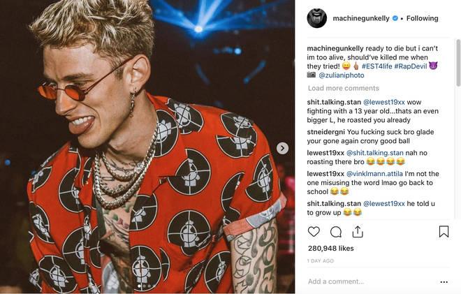 Machine Gun Kelly Instagram Post