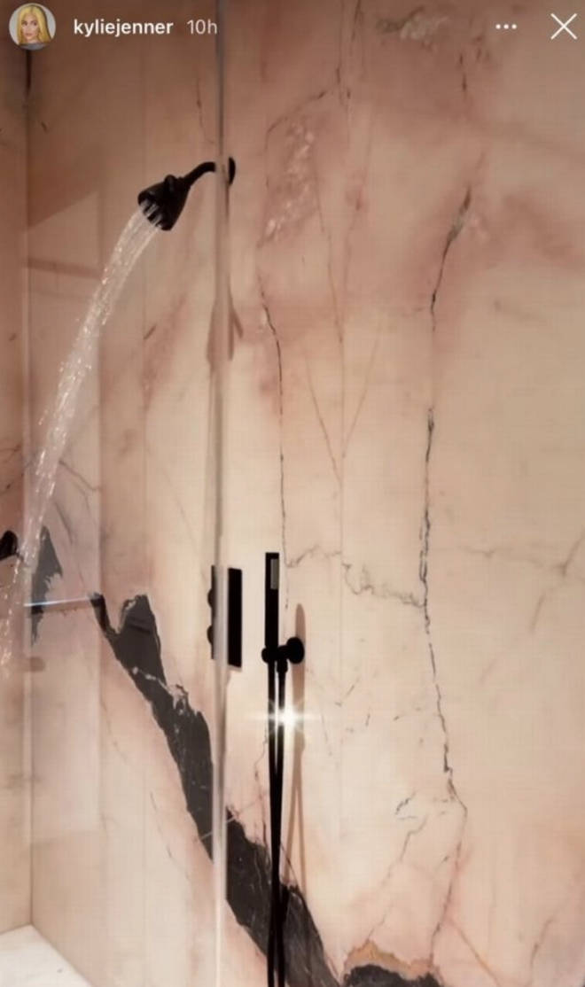 Kylie Jenner shows fans her massive marble walk-in shower