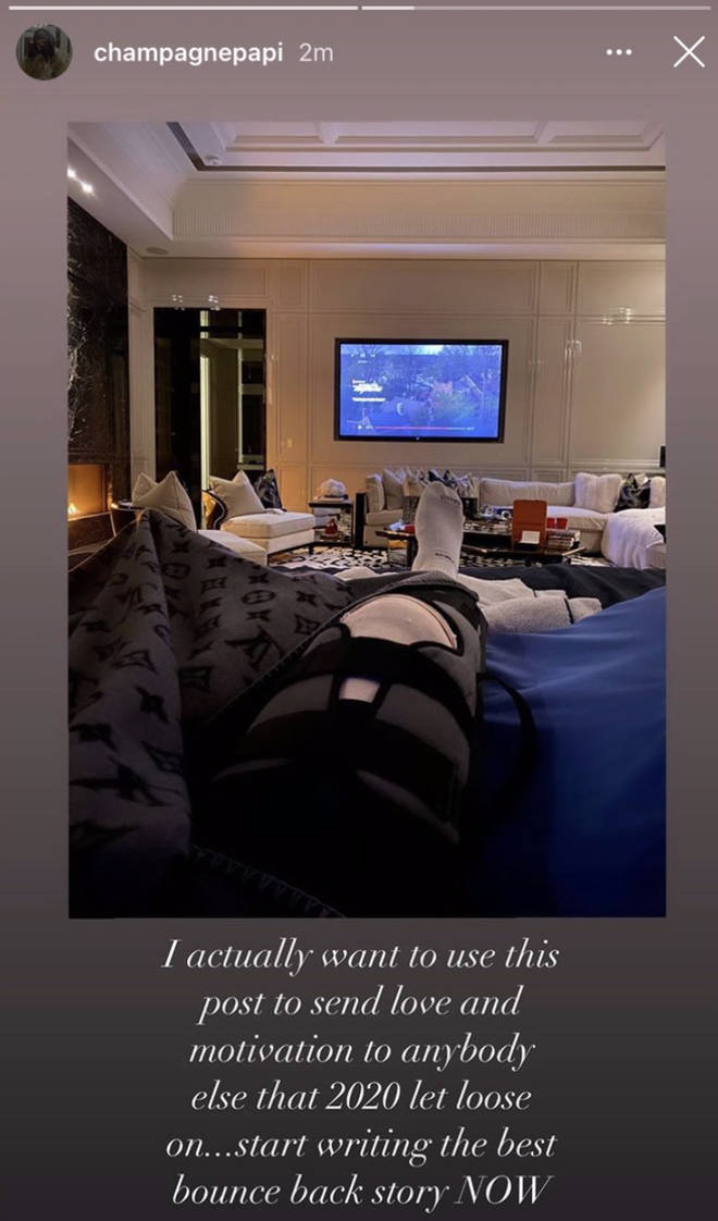 Drake uploads snap from his bed post knee surgery