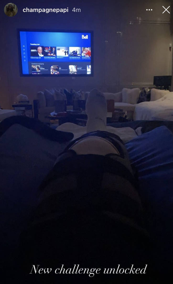 Fans became aware of Drake's injury when he posted a photo of his knee brace on Instagram