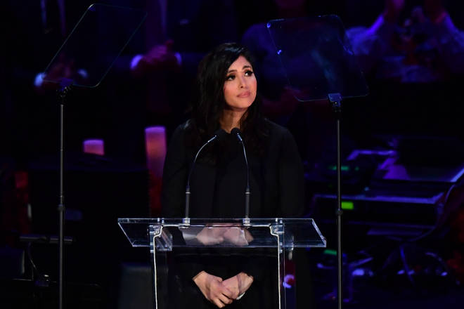 Vanessa Bryant gives speech at Kobe Bryant and Gianna's memorial service in February 2020.