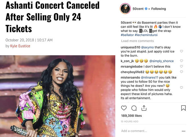 50 Cent went in on Ashanti following the cancelled show.