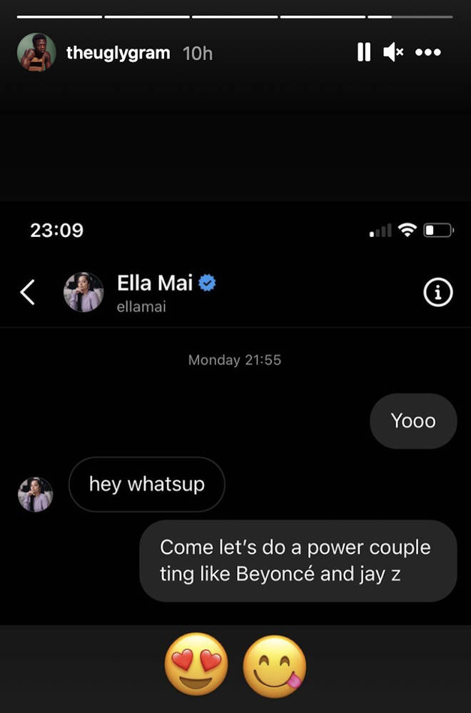 J Hus hopped on Instagram and jumped in the direct messages of Ella Mai.
