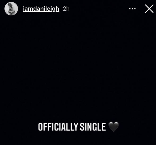 "DaniLeigh reveals she is ""officially single"" on Instagram"