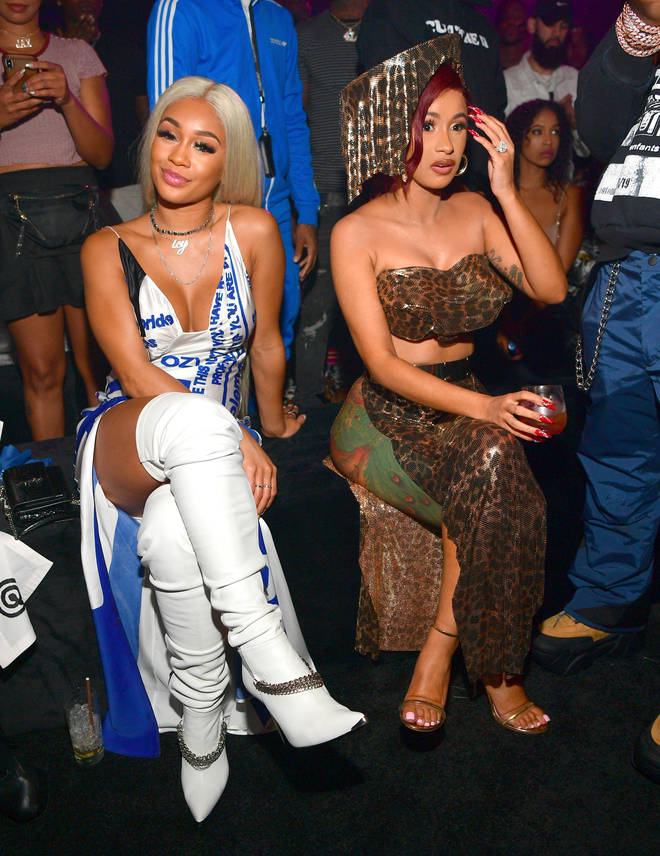 """Saweetie and Cardi B spotted sitting next to each other at the Huncho Reality """"The Album Release Experience in 2019"""