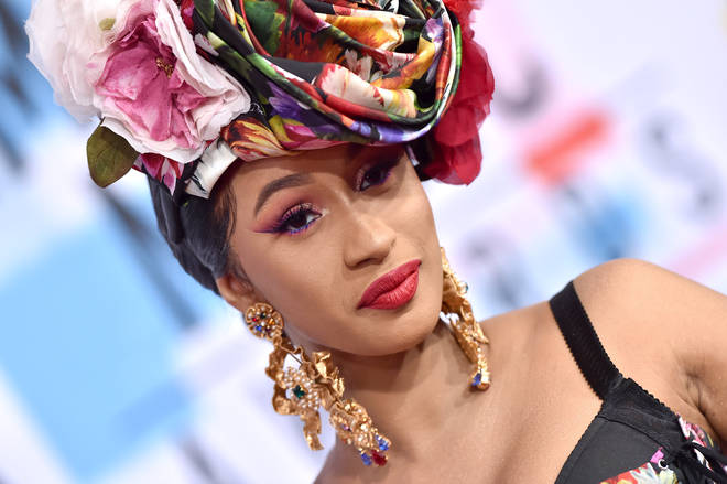 Cardi B arriving at the 2018 American Music Awards.
