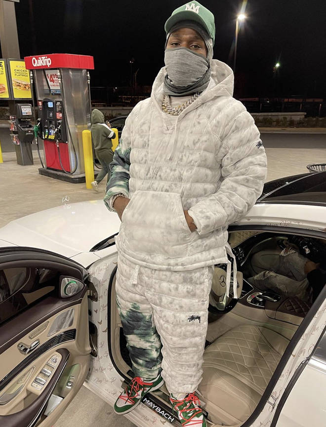 """DaBaby poses inside a Maybach on set for the """"Beatbox"""" freestyle music video"""